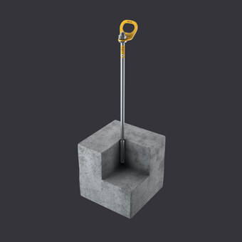 Trax B anchor point for three people - mounting to reinforced concrete base material