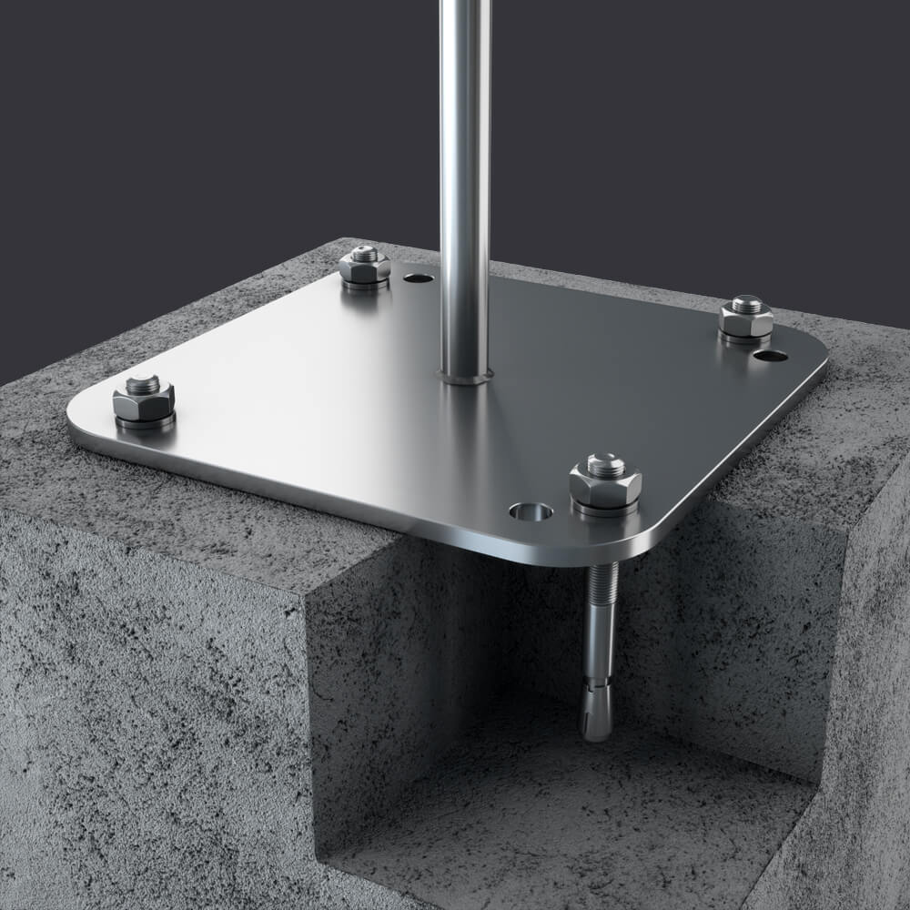 Accen- Trax BX anchor point- mounting: reinforced concrete base material, channel slabs, hollow core slabs