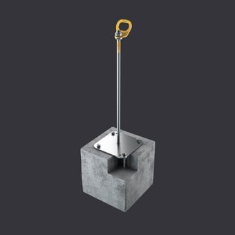 personal protection for three people - Trax BX anchor point - mounting: reinforced concrete base material, channel slabs, hollow core slabs