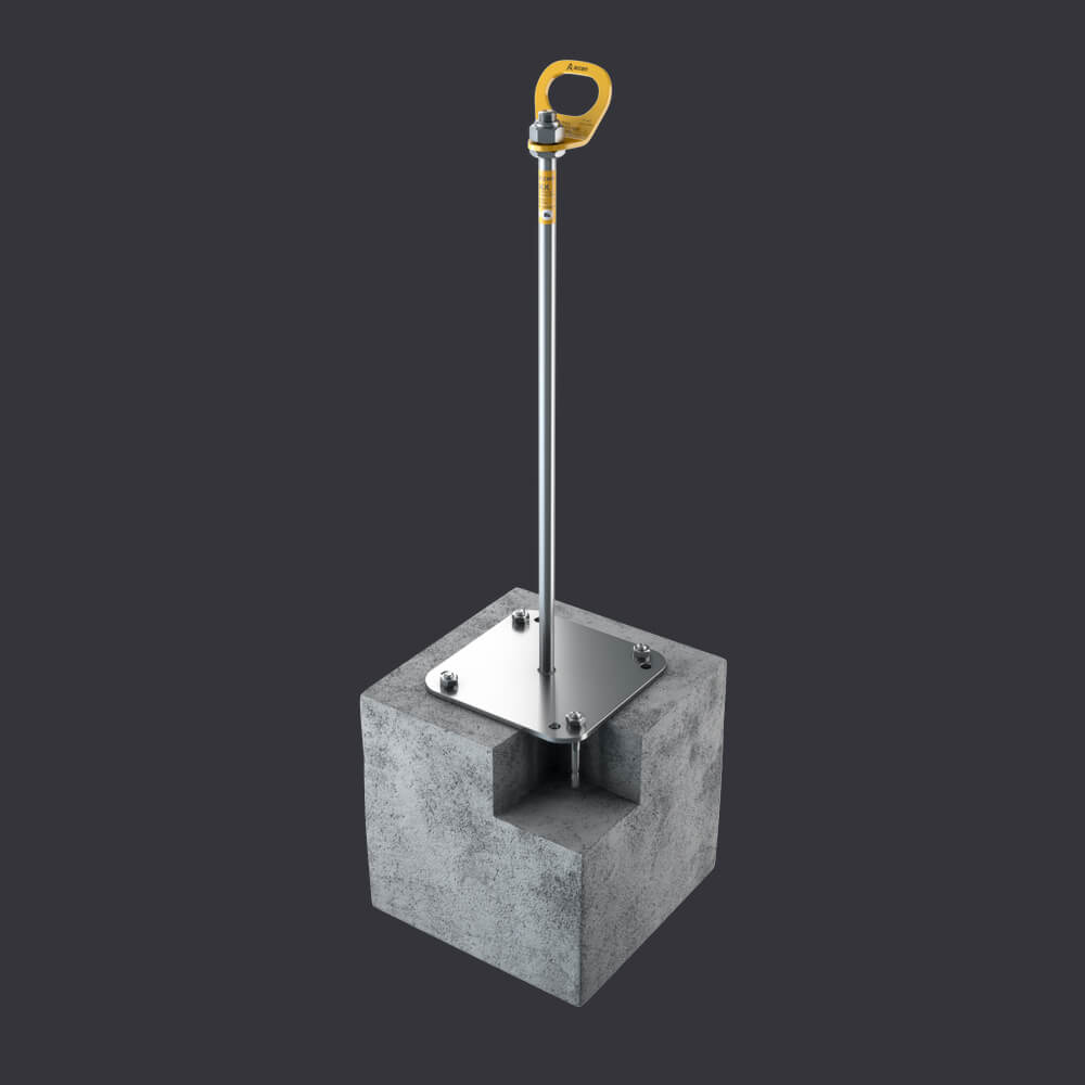 Trax BX anchor point - protection for three people - mounting: reinforced concrete base material, channel slabs, hollow core slabs