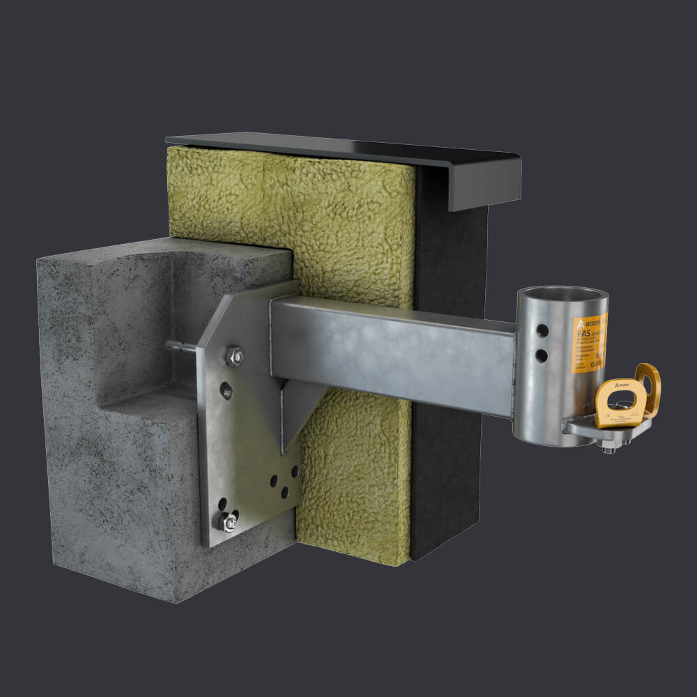 FAS AT attic socket - mounting in a reinforced concrete attic - Accen facade access system